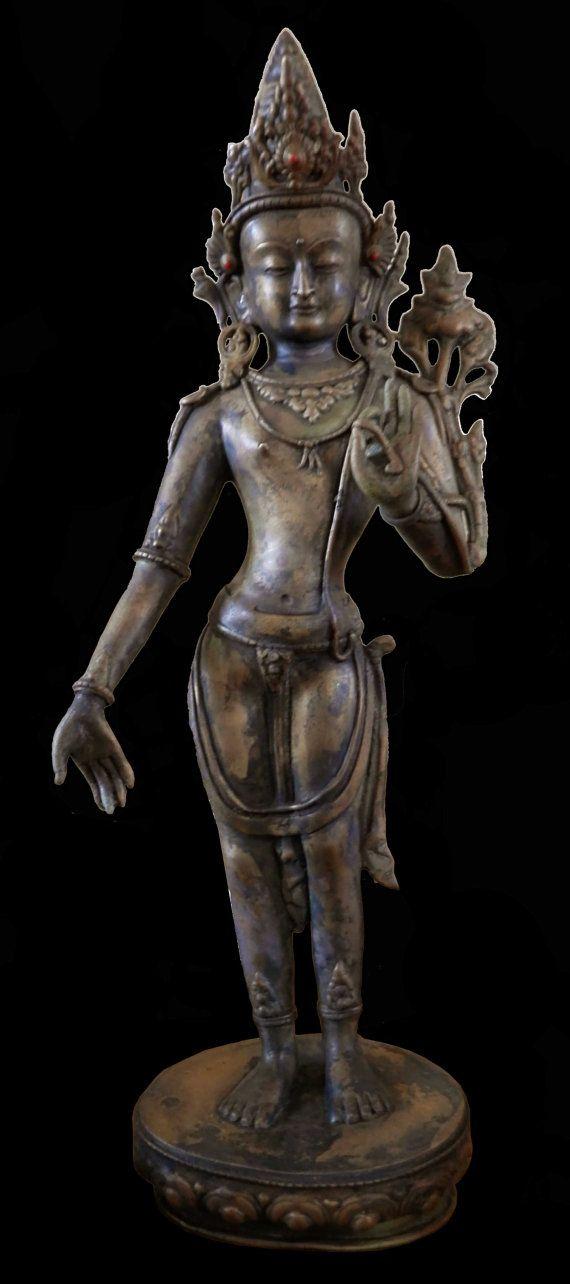 RARE ANTIQUE 18/19th C Tibet/Nepal Bronze Figure by PagodaCrafts