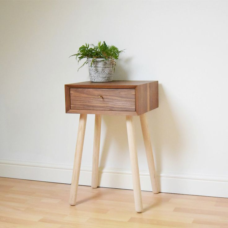 retro bedside table walnut style night stand midcentury bed side table vintage bedroom