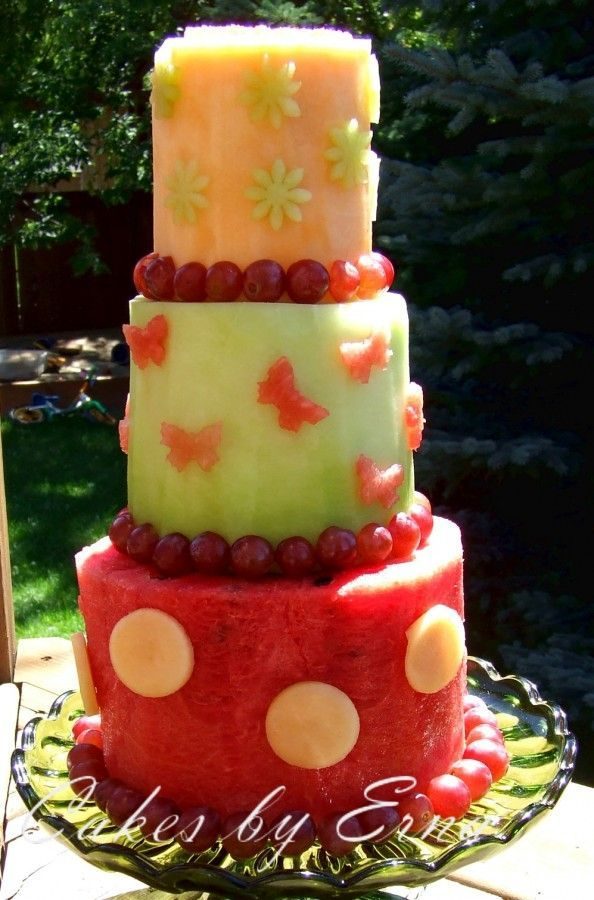 Melon Cake... healthy alternative to regular cake or this could even be an extra cake for little people who might have allergies to the ingredients in the real birthday cake