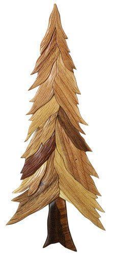 "INTARSIA WOOD SINGLE PINE TREE WALL DECOR  22"" x 9"" handcrafted wood mosaic"
