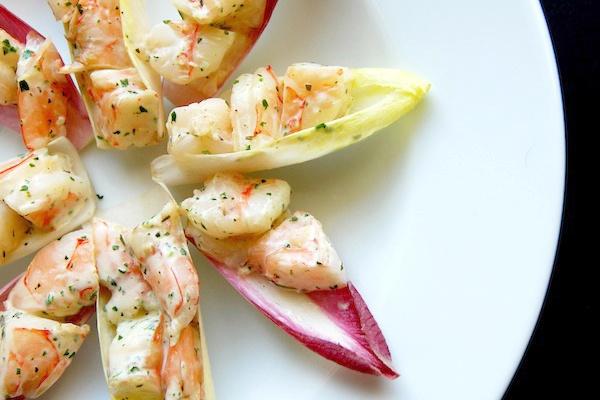 Shrimp salad on endive