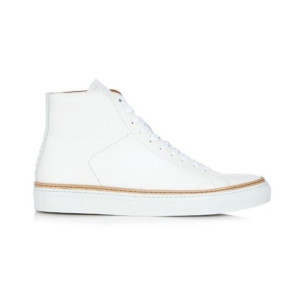 No. 288 Mulberry high-top leather trainers (2 955 ZAR) ❤ liked on Polyvore featuring men's fashion, men's shoes, men's sneakers, shoes, white, mens white high top shoes, mens white sneakers, mens leather shoes, mens high top shoes and mens high top sneakers