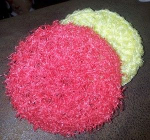 Recycle Your Onion Bags Crochet A Pot Scrubber. No rust. No scratches on your pan's finishes.  Throw it in the wash or dishwasher! :)