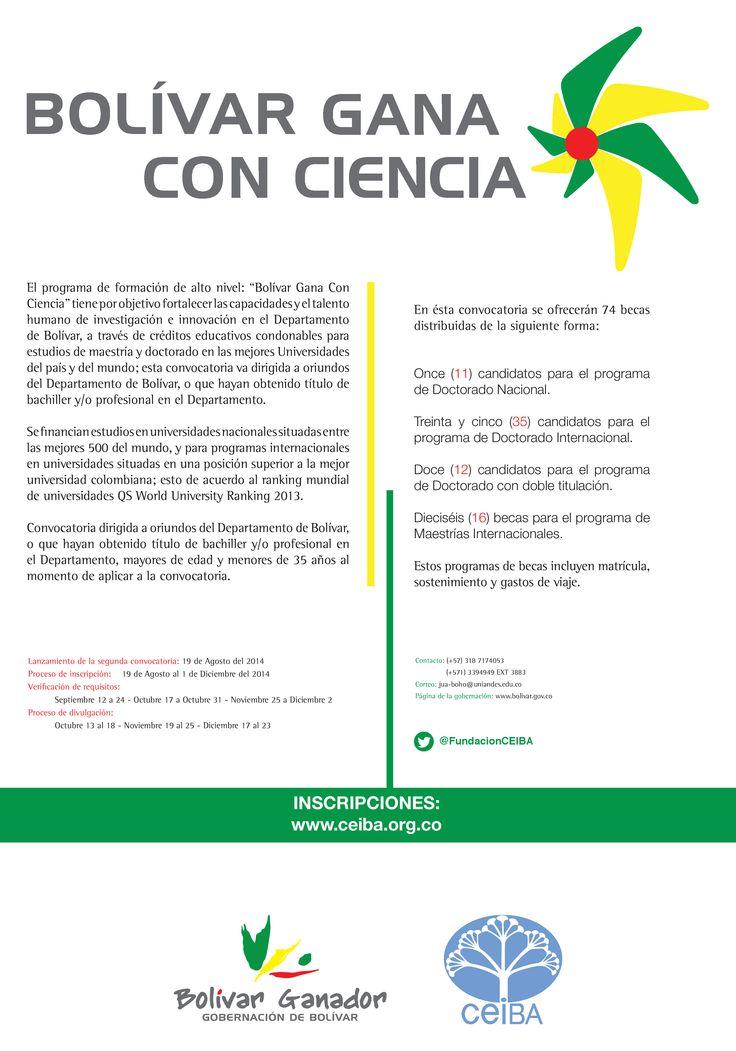 Charlas informativas programadas para 25 de Septiembre para informar a la comunidad estudiantil y de egresados acerca del programa de la Gobernación de Bolívar: BOLÍVAR GANA CON CIENCIA.