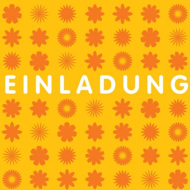 Quadratische Einladungskarte In Orangetönen Mit Grafisch Angeordneten  Blumen. (Hinweis: Für Quadratische Karten Fallen