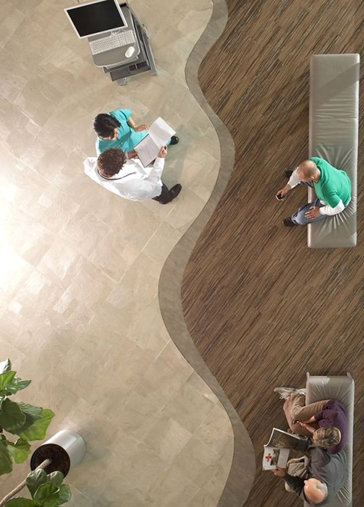 Healthcare Interior Design with Coral Reef in Beach Moss Flooring Collection by Centiva