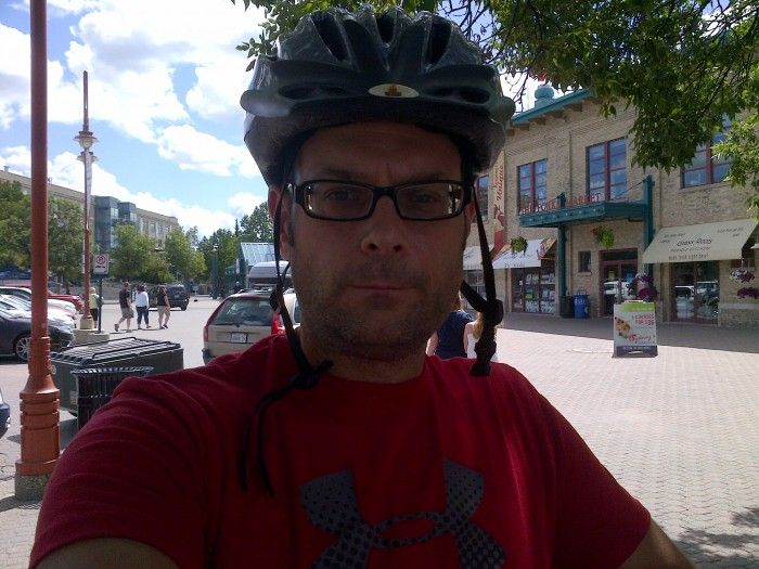 """Historic Forks in Downtown Winnipeg the """"break"""" after 10 miles of cycling."""