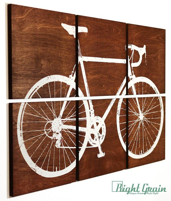 Road bike print on wooden panels 24x36 $245