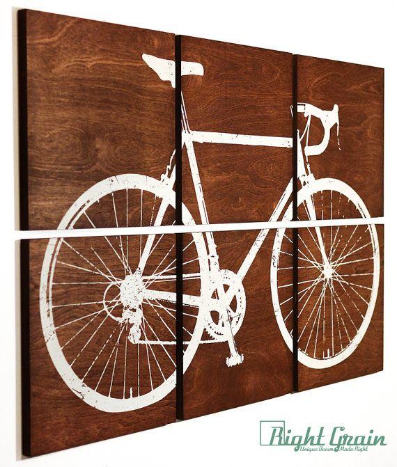Road Bike Print - vélo grande peinture - Custom Art sur bois panneaux de 24 x 36