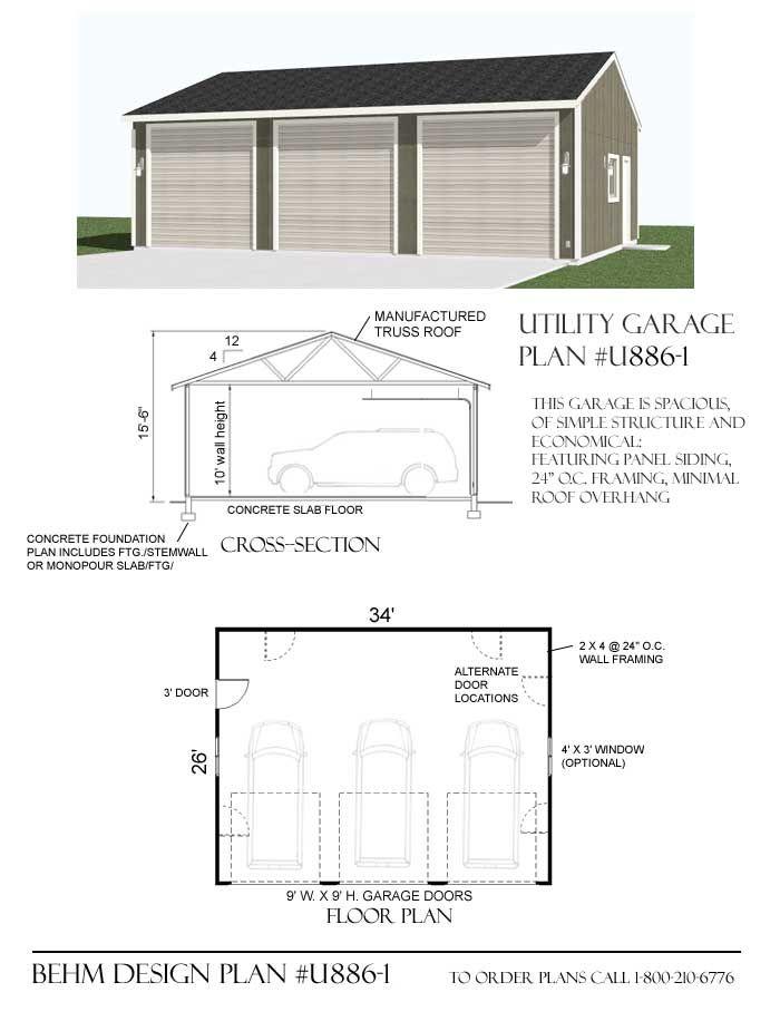 Utility 3 car garage plan u886 1 by behm design 3 big for 10 car garage plans