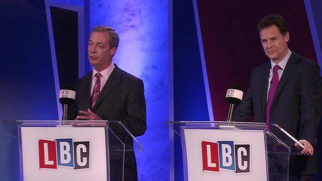 26 Mar. Nick Clegg and Nigel Farage in EU debate (1 of 2).