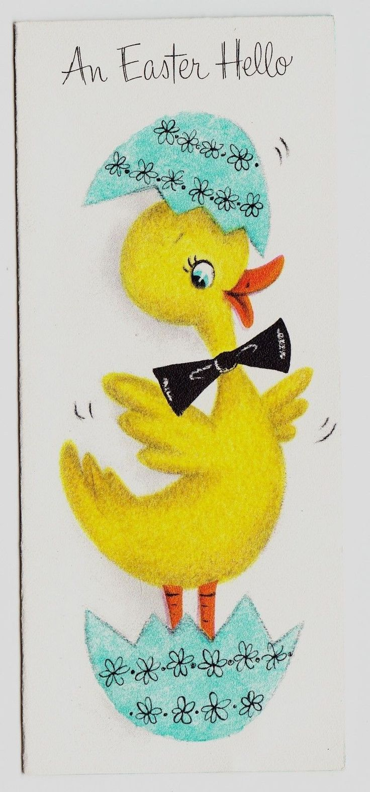 Flocked Yellow Easter Duck Breaking Out of Egg Vintage Hallmark Greeting Card   eBay