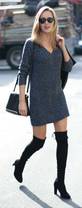 A short sweater dress will look super cute with over the knee boots. Via Memorandum.com. Dress: French Connection, Boots: Stuart Weitzman, Bag: Reiss.