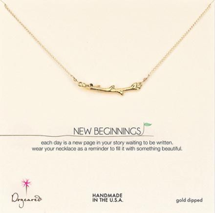 Love this message and charm. Dogeared - new beginnings gold dipped branch necklace