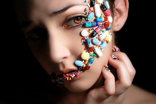 Drugs: silencing women in a nasty and serious way for over a century. woedrugs,face,pills,sad,photography,art-
