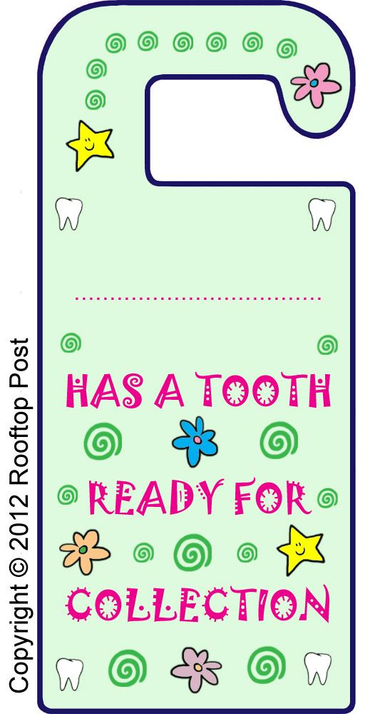 Printable Tooth Fairy door hanger - I'm sure we'll be needing this soon enough