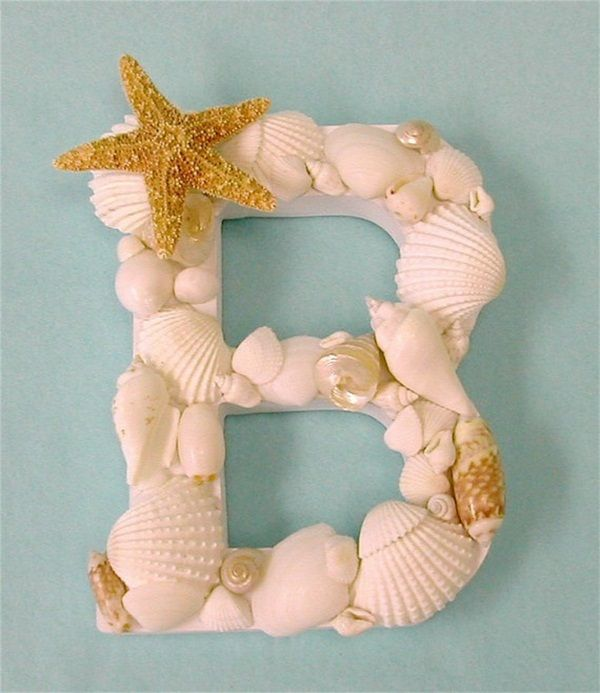great decorative letter Wanddeko Shells Starfish