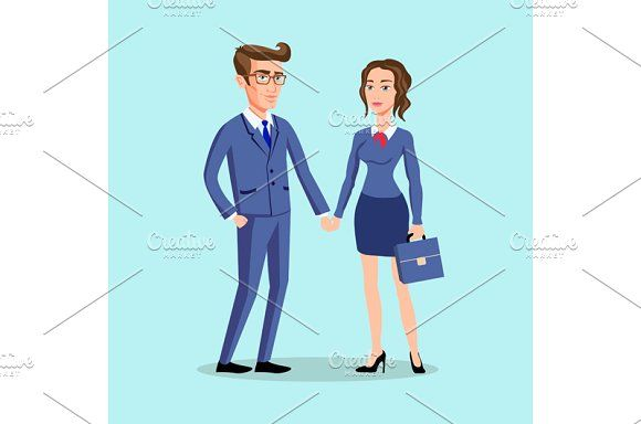 men woman pose office, vector by Rommeo79 on @creativemarket