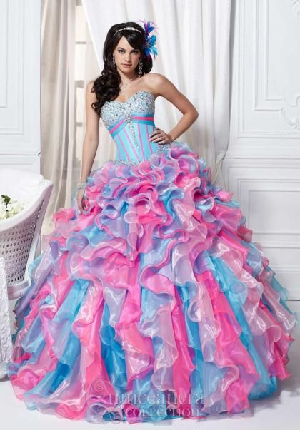 Doesn't this quinceanera dress remind you of cotton candy?  Tiffany Quince Dress 26706