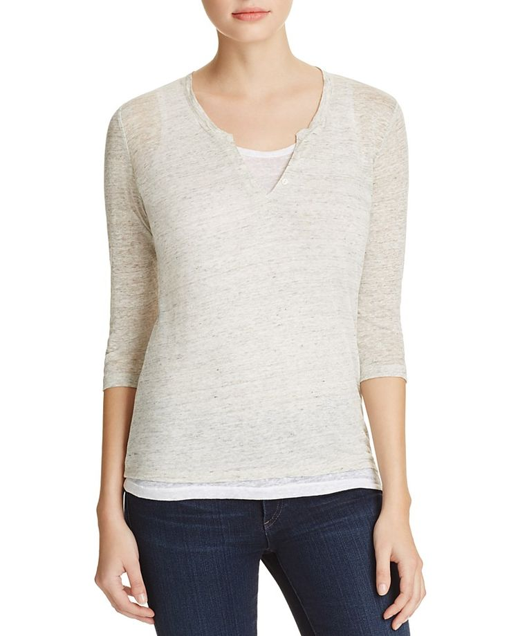 210.00$  Buy here - http://vital.justgood.pw/vig/item.php?t=efom3cm2026 - Majestic Filatures Linen Double Layer Henley Tee