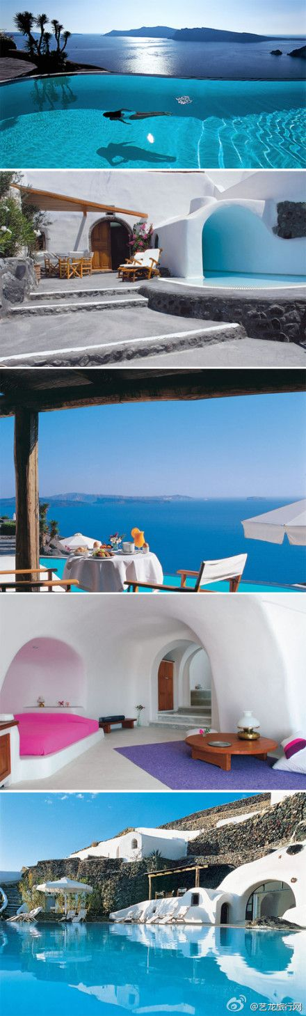 Santorini Luxury Pool Hotel - one of the world's most unique hotel, located on the cliff side of the Aegean Sea, Santorini, Greece Oia hotel room with the renovation of the 300-year-old cave made a total of 20 suites has a luxurious infinity pool, directly overlooking the infinite beauty of the Aegean Sea. For students who want to live hand