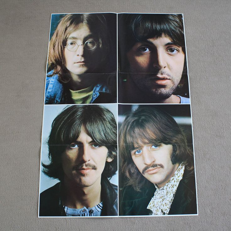 The Beatles 1970s vintage poster UK folded album poster likely from The Beatles Collection blue box set BC 13 1978 by NavigateTimeVintage on Etsy