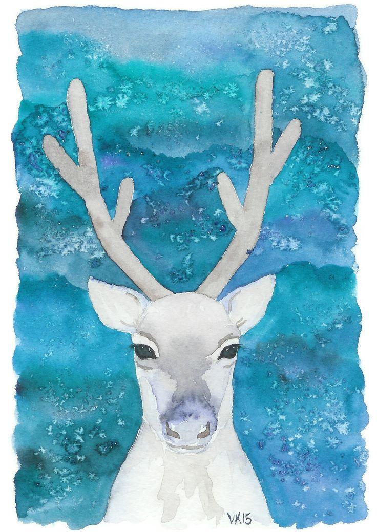 A reindeer Christmas card, printed from an original watercolor painting by Virpi Kivinen. #earlymorningwalk #reindeer #christmas #postcard #finland