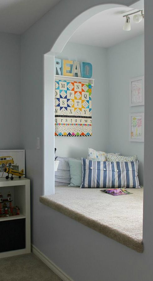 It doesn't take much to create a dedicated reading space in your home. Jenn @cleanscentsible built a kid's reading nook in her son's bedroom with some DIY shelving and an assortment of scattered throw pillows. Jenn used a coat of River Veil on the walls to help brighten up this cozy nook. Check out the rest of Jenn's post to learn more.