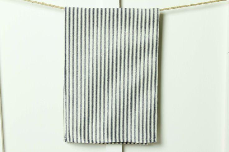 Farmhouse French Ticking Stripe Towel, Tea Towel, Kitchen Towel, Guest Towel, Blue, Gray, Black, Tan or Red Stripe by ReturningGrace on Etsy https://www.etsy.com/listing/475181531/farmhouse-french-ticking-stripe-towel-   grey