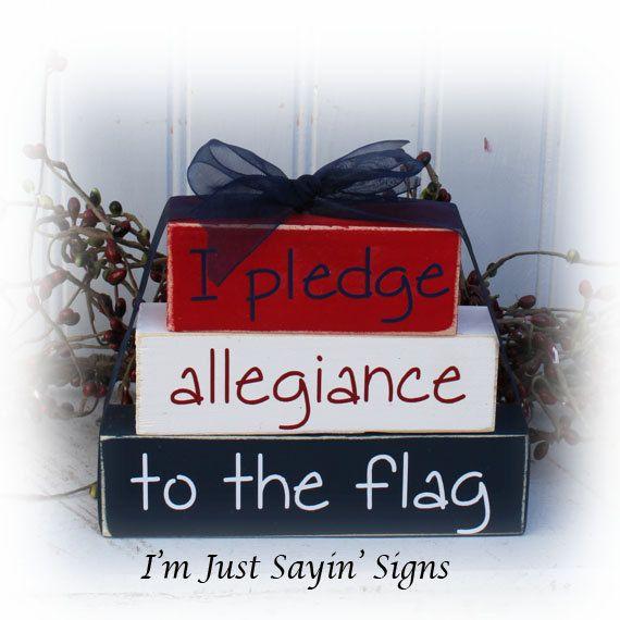 I Pledge Allegiance To The Flag Itty Bitty Wood Blocks via Etsy