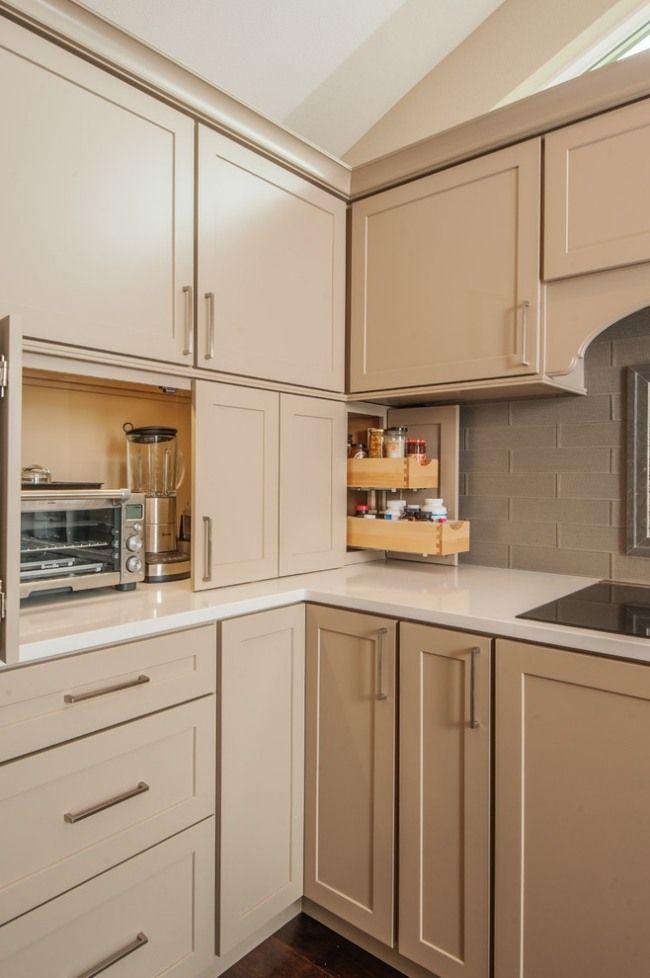 beige küchenzeile elektrogeräte verstecken schranktueren Küche - kleine küchenzeile mit elektrogeräten