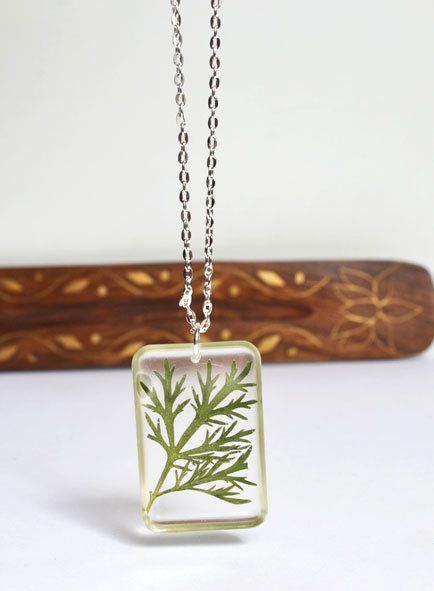 Real Plant Necklace Pressed Botanical in Resin by LOVEnLAVISH, $20.00
