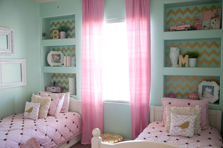 Medium Chevron Stencil by Royal Design Studio in gold in a pretty pink bedroom by B Couture Photography!
