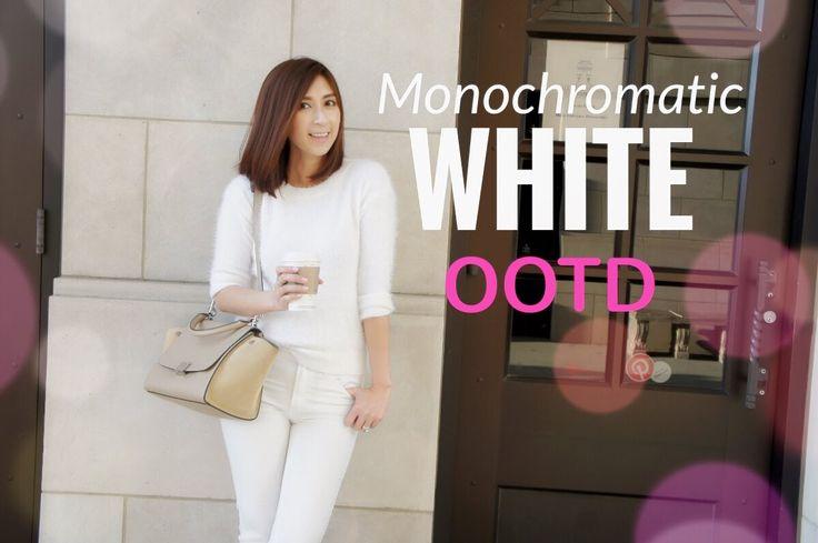 Monochromatic White|  OOTD| Celine Trapeze - Small, Jcrew, & BR| Minimal...