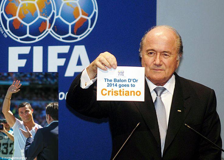 Blatter reveals Cristiano Ronaldo as the winner of the Golden Ball. www.madridismo.org
