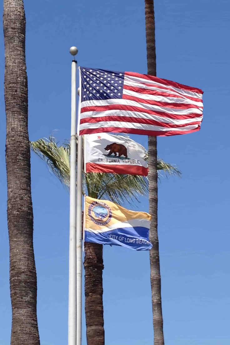 California Flags Digital Photography Vacation CA Long Beach Blue Red by ImageOnion on Etsy