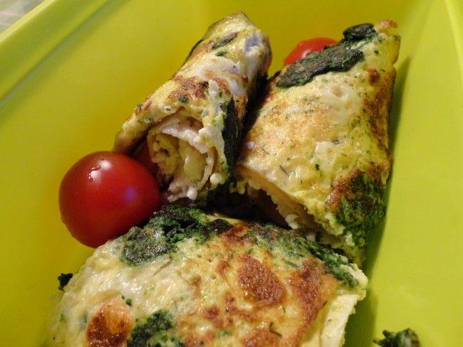Recept: Äggrulle  Äggrulle (1 person)  2 ägg en skvätt mjölk salt fryst spenat dill   3 kalkonskivor (eller skinka) keso