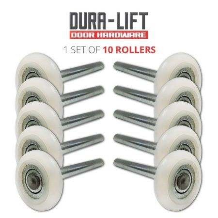 Dura-Lift Extra-Quiet 2 inch Nylon Garage Door Roller with 13-Ball Bearing & 4 inch Stem (10 Pack)