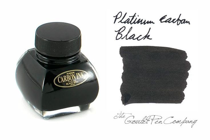 Platinum Carbon Black (60ml Bottle). Very permanent (waterproof) and lightfast, though it does require more diligent maintenance in your fountain pen. Pigmented inks are intended for use in fountain pens, though they require more diligent maintenance and should not be left to dry out in a pen. It is best to clean it from your pen at least once a week to prevent clogging. Certain pens may handle pigmented inks better than others.