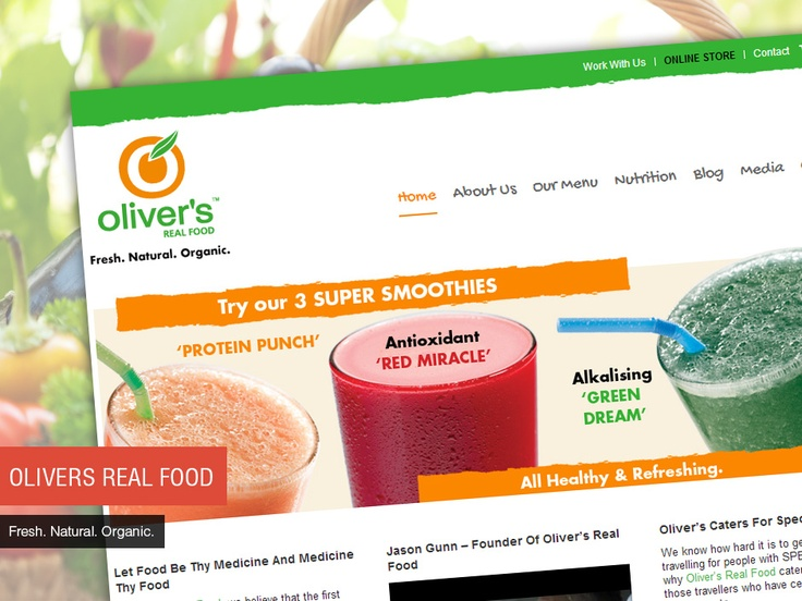 Studio 72 built a clean and simple website for Oliver's Real Food, with a content management system which enables them to make updates to their website.