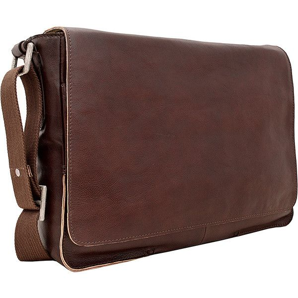 Hidesign Fred Leather Business Laptop Messenger Crossbody Bag ($150) ❤ liked on Polyvore featuring bags, messenger bags, brown, crossbody bags, leather cross body messenger bag, brown leather messenger bag and brown crossbody bag