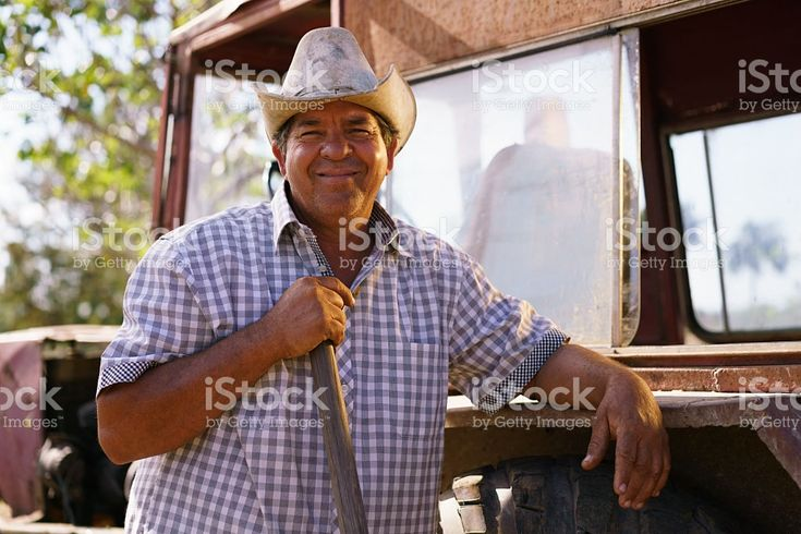 Retrato de hombre feliz agricultor apoyarse en Tractor observando a la cámara foto de stock libre de derechos