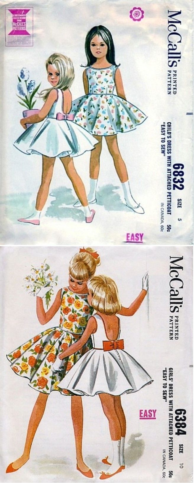 McCall's 6832 and 6384 © 1963.  Believed by some experts to be unmarked Helen Lee designs.