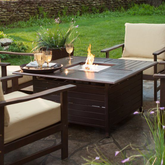 Square Propane Fire Pit Table