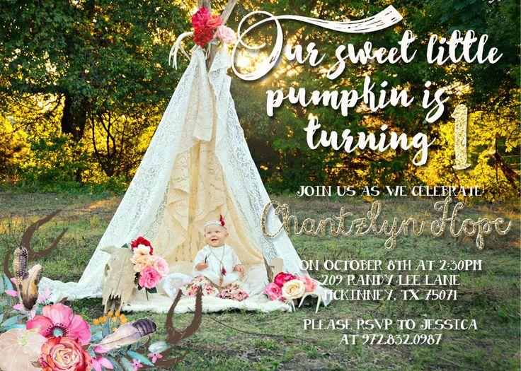 Boho pumpkin first birthday/ pink & gold pumpkins, floral & antlers