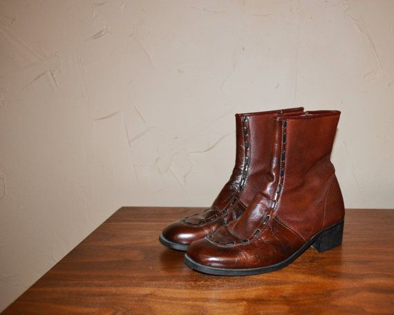 Vintage Boots BEATLE Boots Brown Leather Boot by founditinatlanta, $79.95
