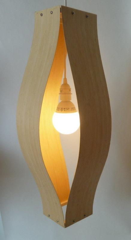 Modern Bent Wood Pendant Lamp in Bamboo by baldmanmod on Etsy