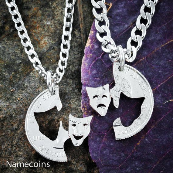 Comedy and Tragedy Theater Necklaces Thespian Best by NameCoins