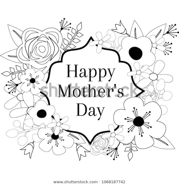 Happy Mothers Day Coloring Page Outline Stock Vector ...