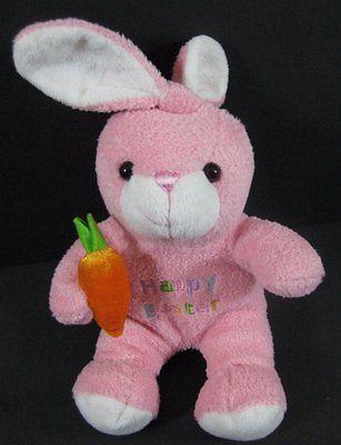 "8"" Pink Happy Easter Bunny RABBIT Holding Carrot Plush Stuffed Walmart Toy B255"